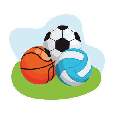 basketball with soccer and volleyball sports balls