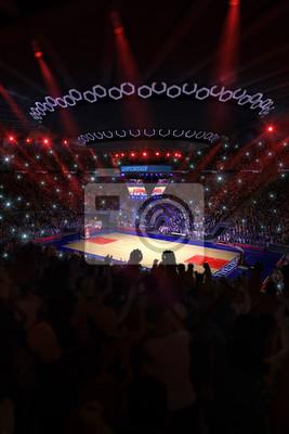 Basketballplatz mit Menschen Fan. Sport arena.Photoreal 3d rende