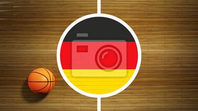 Basketballplatz Parkett-Center mit der deutschen Flagge
