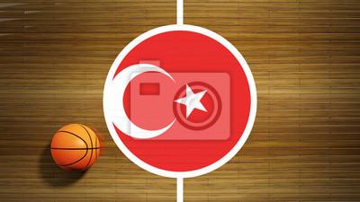 Basketballplatz Parkett-Center mit Flagge der Türkei