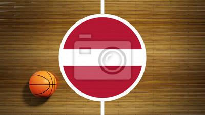Basketballplatz Parkett-Center mit Flagge Lettlands