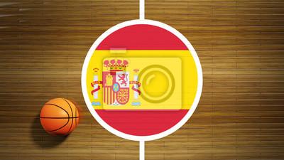 Basketballplatz Parkett-Center mit Flagge Spaniens