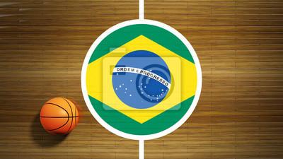 Basketballplatz Parkett-Center mit Flagge von Brasilien