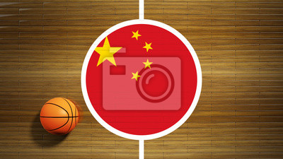 Basketballplatz Parkett-Center mit Flagge von China