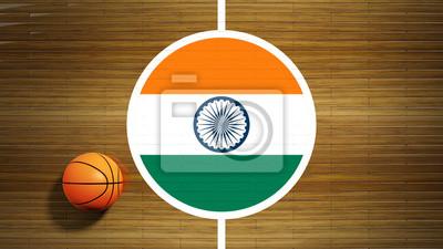 Basketballplatz Parkett-Center mit Flagge von Indien