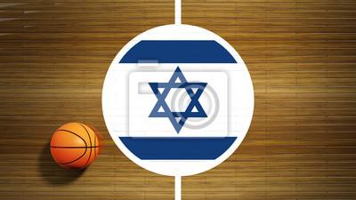 Basketballplatz Parkett-Center mit Flagge von Israel
