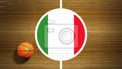 Basketballplatz Parkett-Center mit Flagge von Italien