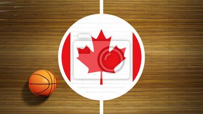 Basketballplatz Parkett-Center mit Flagge von Kanada
