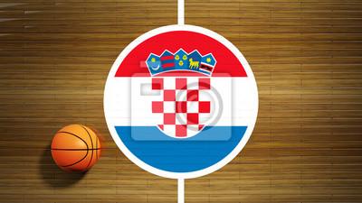 Basketballplatz Parkett-Center mit Flagge von Kroatien