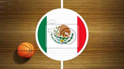 Basketballplatz Parkett-Center mit Flagge von Mexiko