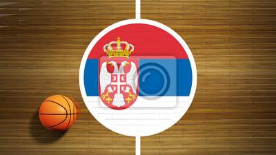 Basketballplatz Parkett-Center mit Flagge von Serbien