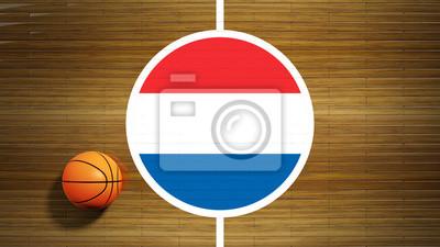 Basketballplatz Parkett Zentrum mit Fahne der Niederlande
