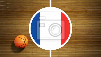 Basketballplatz Parkett Zentrum mit Flagge von Frankreich