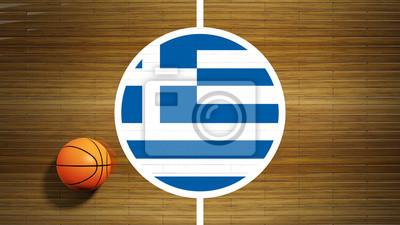 Basketballplatz Parkett Zentrum mit Flagge von Griechenland