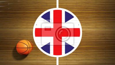 Basketballplatz Parkett Zentrum mit Flagge von Großbritannien
