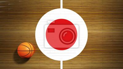 Basketballplatz Parkett Zentrum mit Flagge von Japan