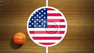 Basketballplatz Parkett Zentrum mit Flagge von USA