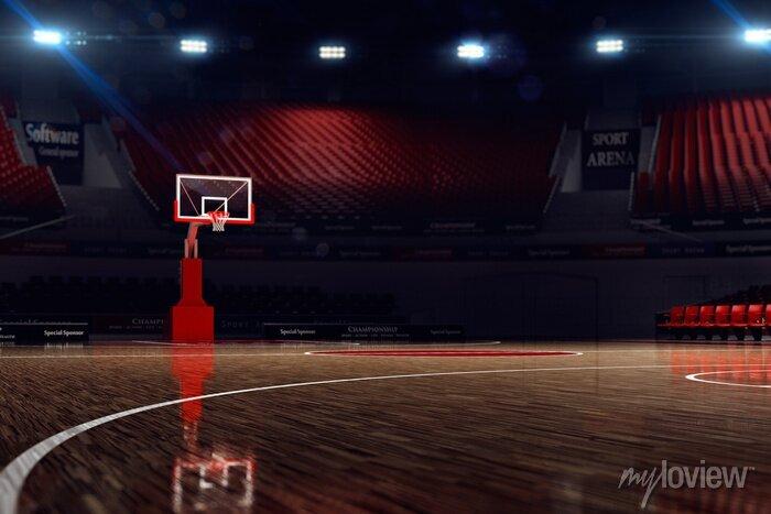 Fototapete Basketballplatz. Sport-Arena. 3d übertragen Hintergrund. unfocus in Totale Distanz