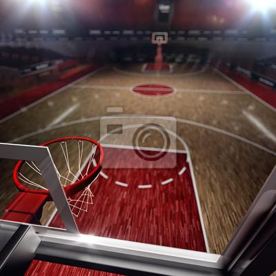 Basketballplatz. Sport-Arena. 3d übertragen Hintergrund. unfocus in Totalen Abstand