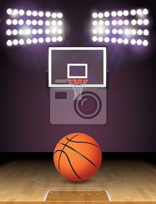 Basketballplatz und Lichter Ball und Hoop Illustration