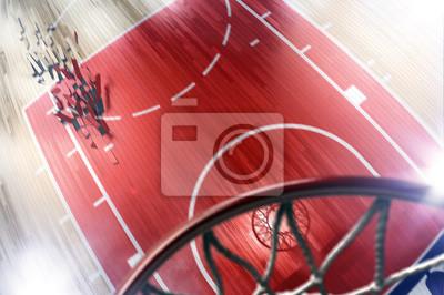 Basketballplatz und Reifen 3d render. Der Boden ist kaputt und m