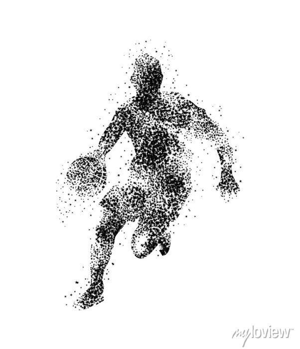 Fototapete Basketballspieler, Silhouette