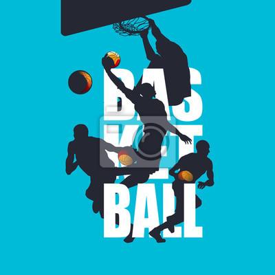 Basketballspieler Silhouetten mit Textintegration Sportillustration