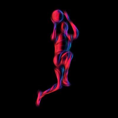 Basketballspieler Slam Dunk Neon Glow Silhouette