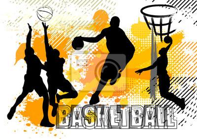 Basketballspielerteam auf weißem Schmutzhintergrund