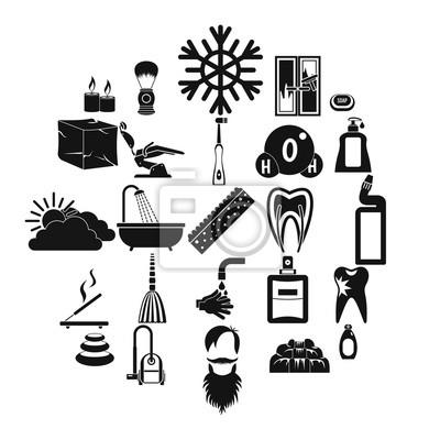 Bathe Icons gesetzt. Einfacher Satz von 25 baden Vektorikonen für das Netz, das auf weißem Hintergrund lokalisiert wird
