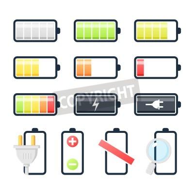 Batterielade Icons Sammlung. Flache Bauweise