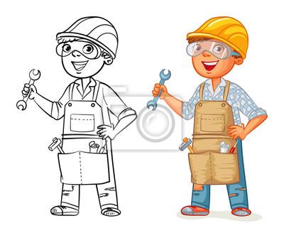 Bauarbeiter In Uniform Mit Einem Schraubenschlussel In Den Handen