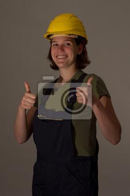 Bauarbeiterin Mit Thumbs Up Fototapete Fototapeten Arbeitenden
