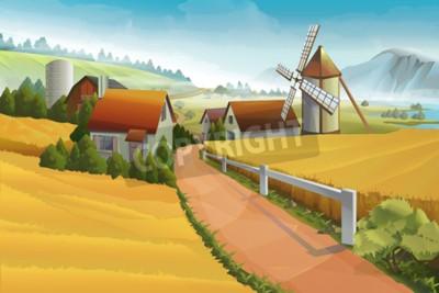 Fototapete Bauernhof ländlichen Landschaft Hintergrund