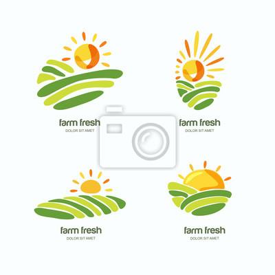 Bauernhof Und Landwirtschaft Satz Von Vektor Logo Label