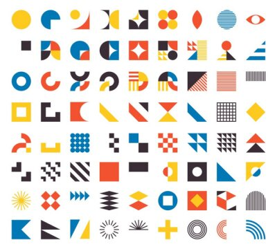 Fototapete Bauhaus elements. Modern geometric abstract shapes in minimal style. Brutalism basic forms, lines, eye, circles and patterns, art vector set