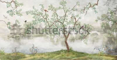 Fototapete Baum am See. Nebelhafte Landschaft. Baum mit Vögeln im japanischen Garten. das Wandbild, Tapete für den Innendruck