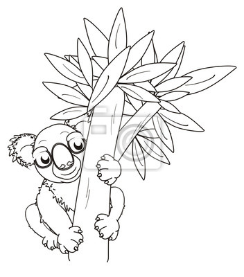 Baum, eukalyptus, färbung, linie, cartoon, grau, tier, bär, koala ...