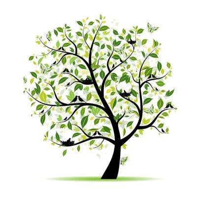 Baum frühling grün mit Vögeln für Ihren Entwurf