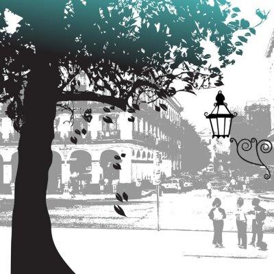 Baum-Silhouette, Straßenbild