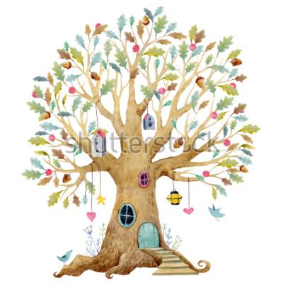 Fototapete Baumillustration der Aquarellkinder, Stammbaum, genealogischer Baum. süsser Märchenbaum, Kinderillustration