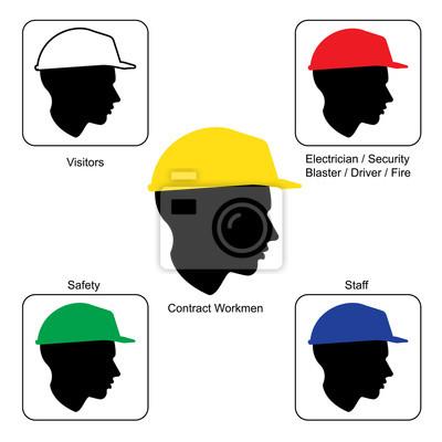 Baustelle warn - schutzhelm farben, vektor- fototapete • fototapeten ...