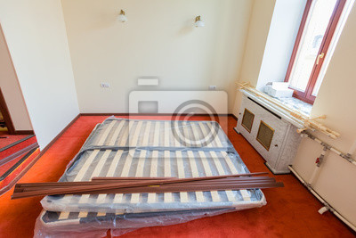 Baustoffe Mobel Tv Und Telefon Sind Auf Dem Boden Der Wohnung