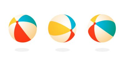 Fototapete Beach ball set icon. Clipart image isolated on white background