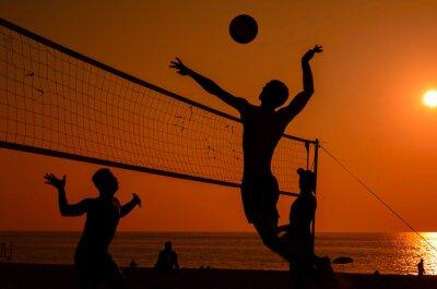 Fototapete Beach-Volleyball-Silhouette