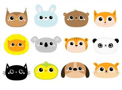 Bear Fox Owl Rabbit Dog Parrot Hamster Cat Lion Koala Panda Tiger round face icon set. Cute cartoon kawaii funny baby character. Flat design. Kids print. White background. Isolated.
