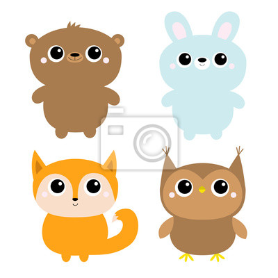 Bear hare rabbit fox owl. Forest animal toy icon line set. Cute kawaii cartoon funny baby character. Kids education cards. Flat design. White background. Isolated.