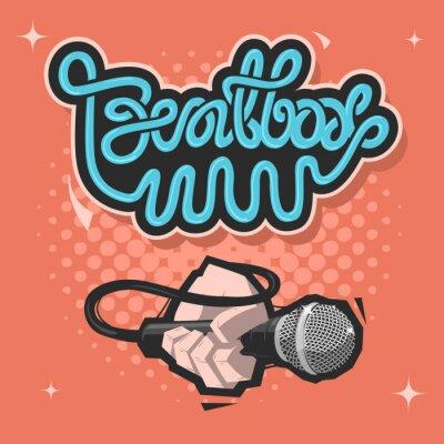 Beatbox-Beschriftung. Eine Hand Mit Einem Mikro. Abbildung