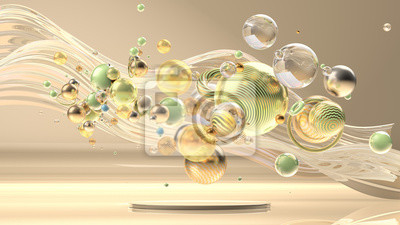Fototapete Beautiful abstract background with primitives and geometry. 3d illustration, 3d rendering.