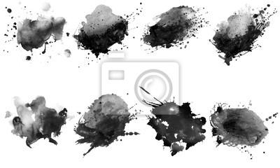 Fototapete Beautiful black watercolor splash brushes. Set of black brushes